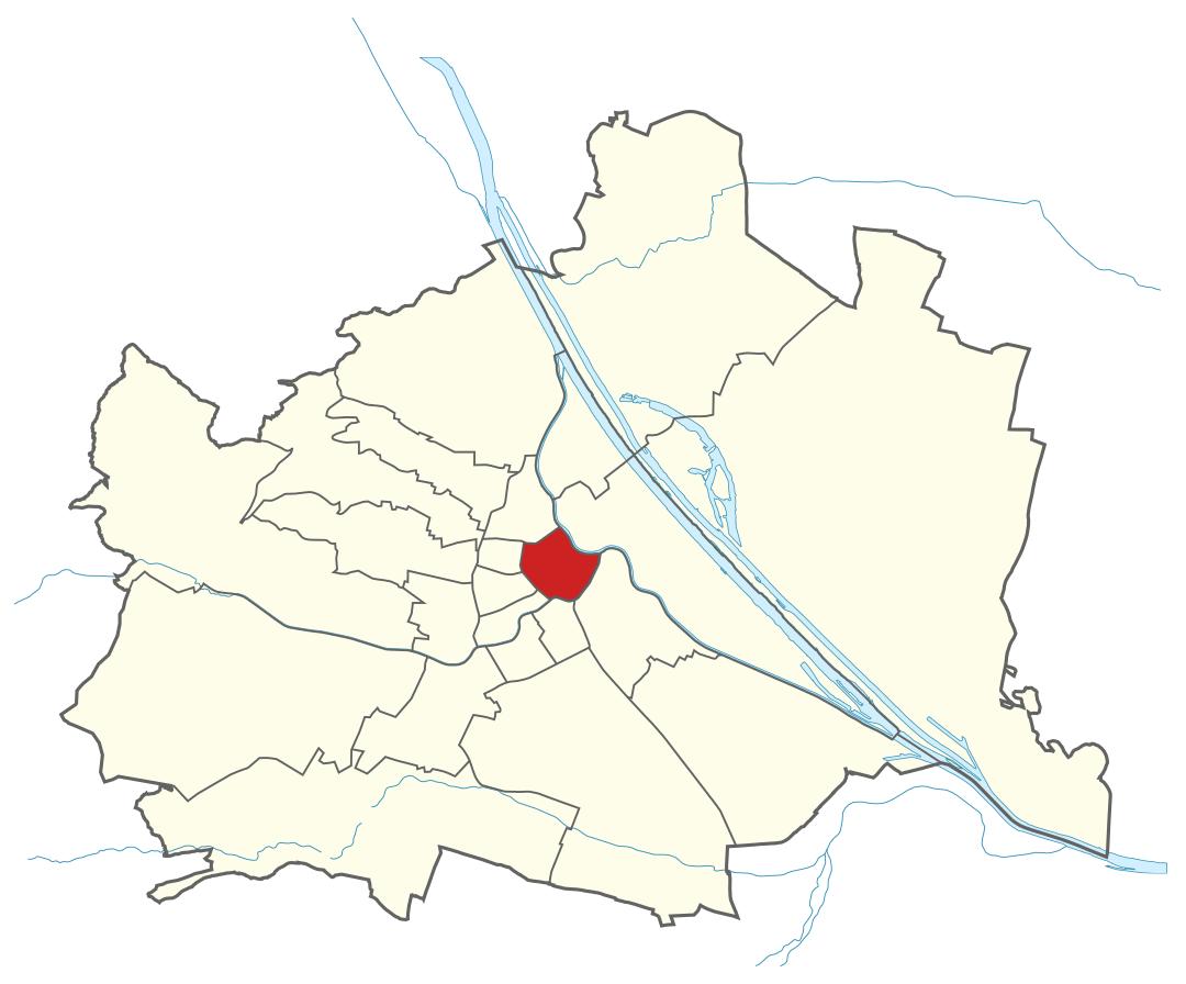 Karte von Wien mit Bezirken, Marschall - Ihr Immobilienmarkler für Luxuswohnungen in 1010 Wien Innere Stadt