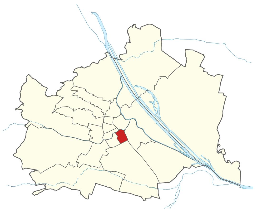 Karte von Wien mit Bezirken, Marschall - Ihr Immobilienmarkler für Luxuswohnungen in 1040 Wien Wieden