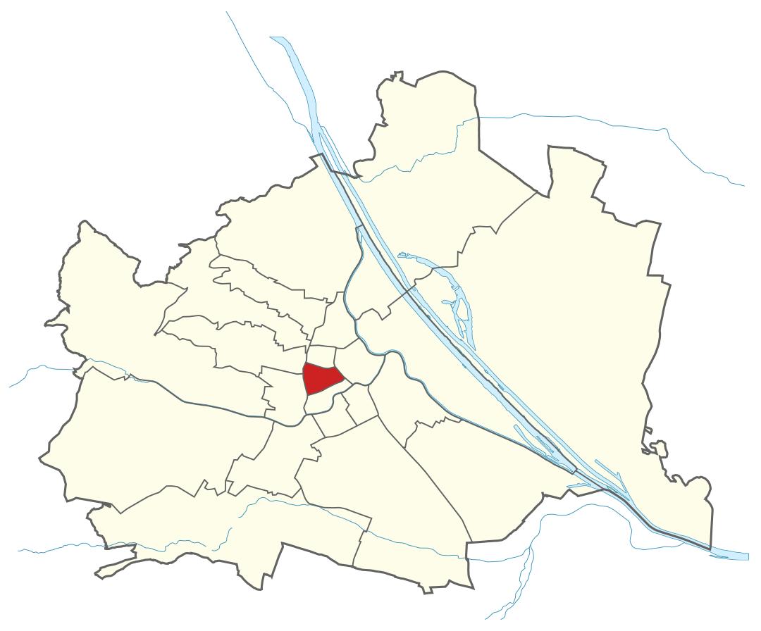 Karte von Wien mit Bezirken, Marschall - Ihr Immobilienmarkler für Luxushäuser in 1070 Wien Neubau