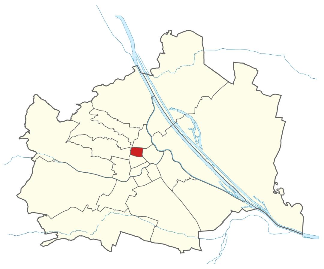 Karte von Wien mit Bezirken, Marschall - Ihr Immobilienmarkler für Luxusimmobilien in 1080 Wien Josefstadt