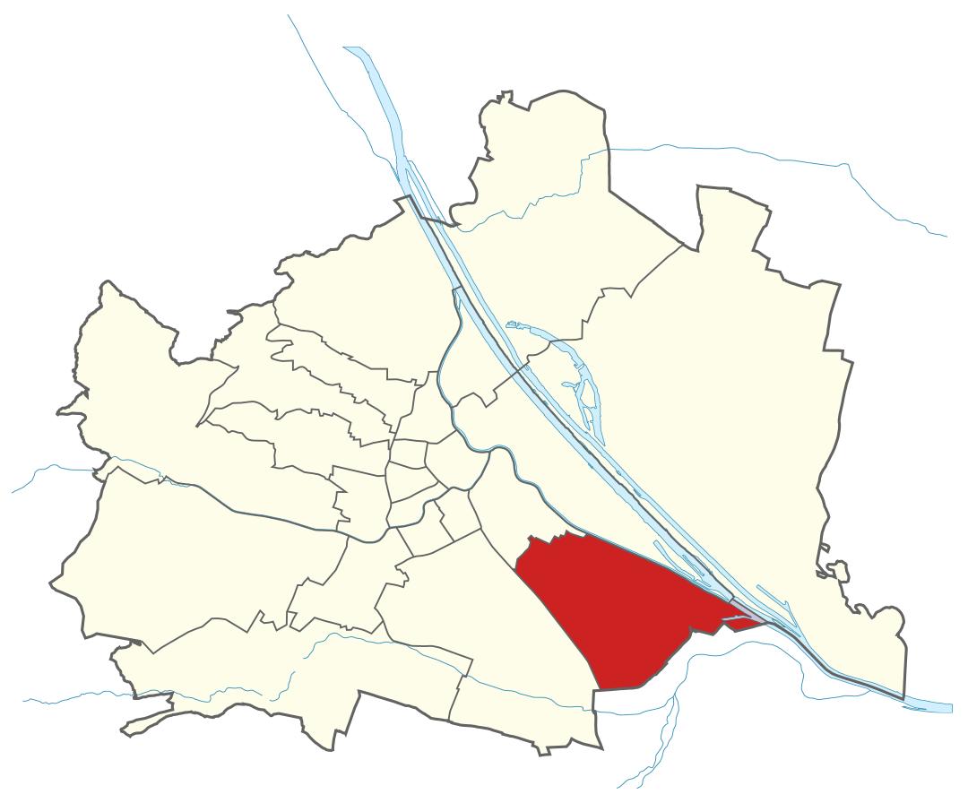 Karte von Wien mit Bezirken, Marschall - Ihr Immobilienmarkler für Luxusimmobilien in 1110 Wien Simmering