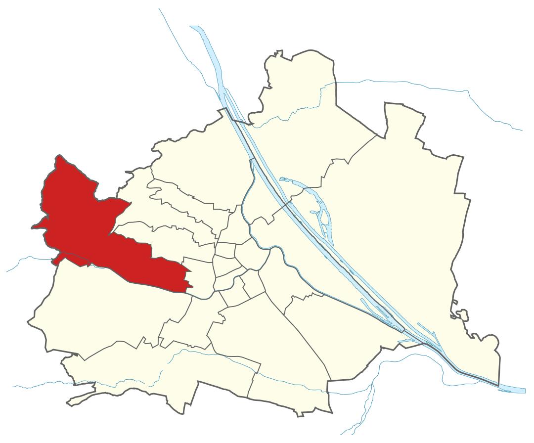Karte von Wien mit Bezirken, Marschall - Ihr Immobilienmarkler für Luxusimmobilien in 1140 Wien Penzing