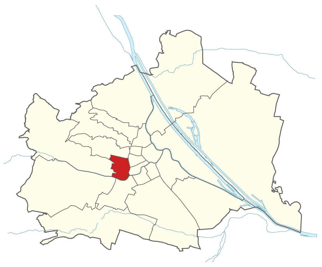 Karte von Wien mit Bezirken, Marschall - Ihr Immobilienmarkler für Luxusimmobilien in 1150 Wien Rudolfsheim-Fünfhaus