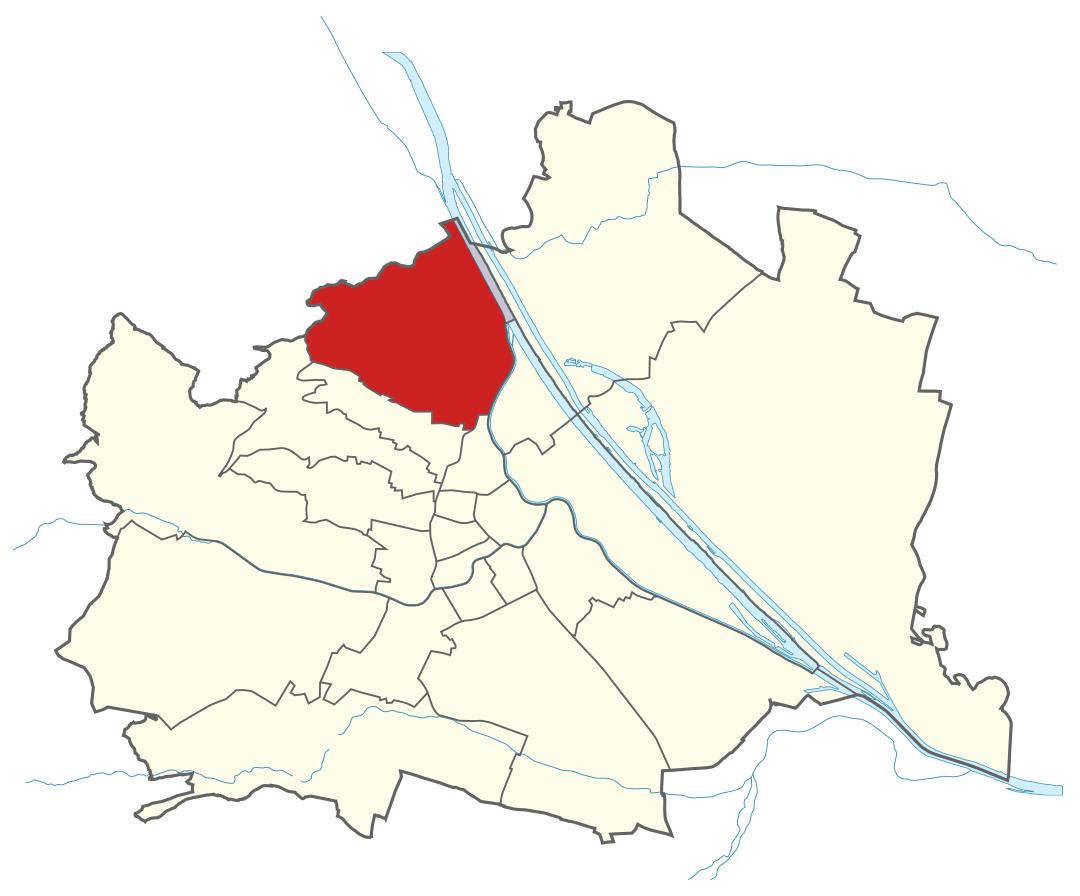 Karte von Wien mit Bezirken, Marschall - Ihr Immobilienmarkler für Luxusimmobilien in 1190 Wien Döbling