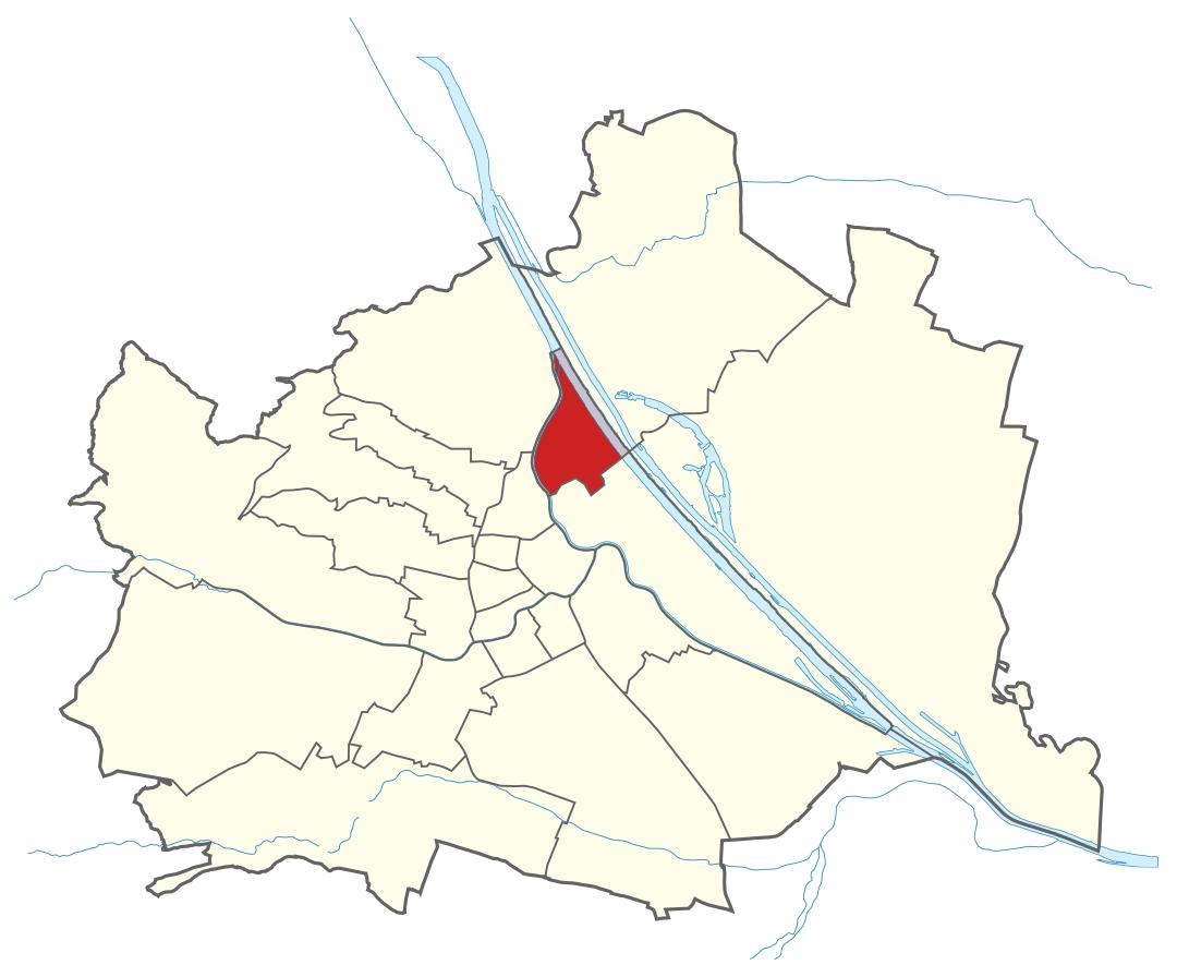 Karte von Wien mit Bezirken, Marschall - Ihr Immobilienmarkler für Luxuswohnungen in 1200 Wien Brigittenau
