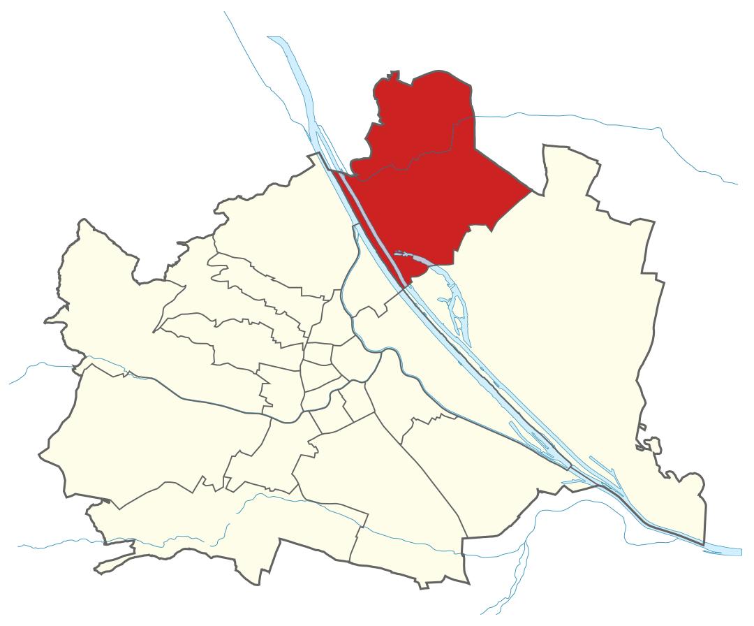 Karte von Wien mit Bezirken, Marschall - Ihr Immobilienmarkler für Luxusimmobilien in 1210 Wien Floridsdorf