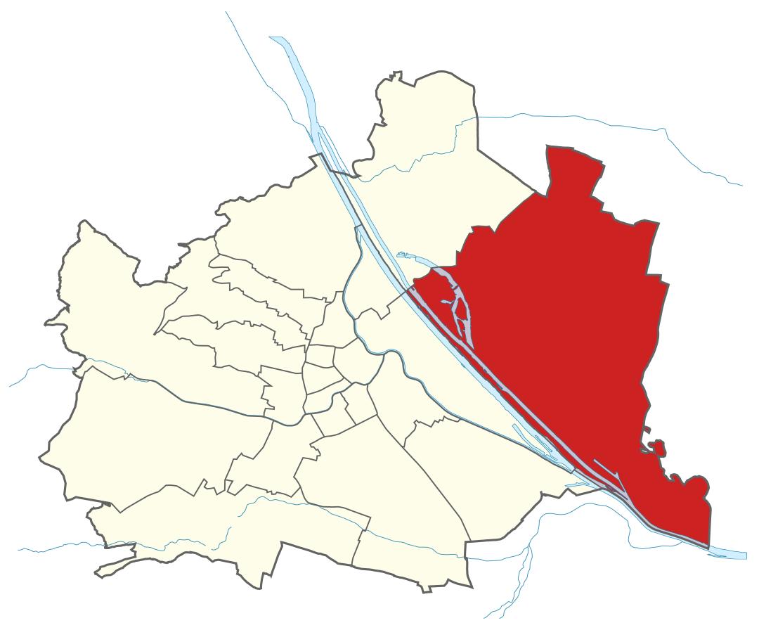 Karte von Wien mit Bezirken, Marschall - Ihr Immobilienmarkler für Luxushäuser in 1220 Wien Donaustadt