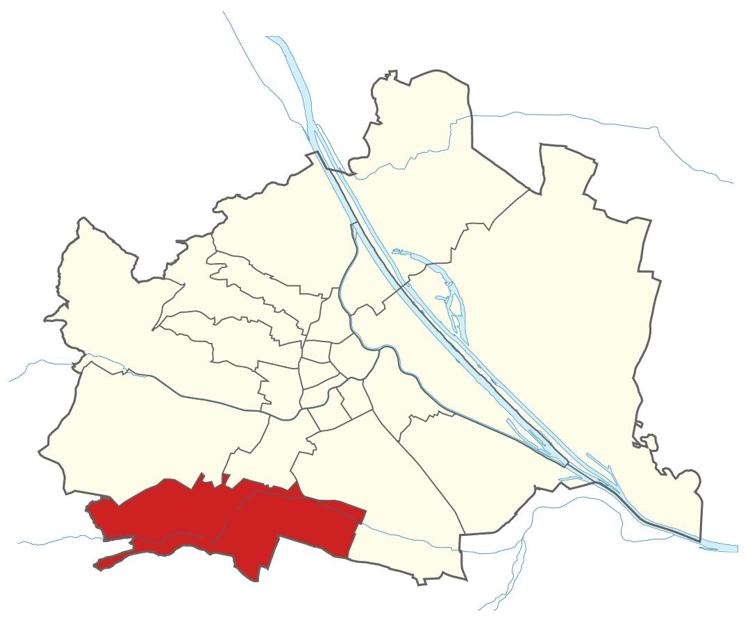 Karte von Wien mit Bezirken, Marschall - Ihr Immobilienmarkler für Luxusimmobilien in 1230 Wien Liesing